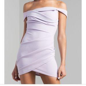 Lilac wrap off the shoulder Akira dress